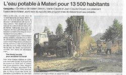 L'eau potable à Materi pour 13500 habitants